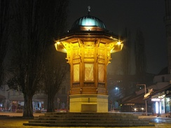 The Sebilj is a pseudo-Ottoman style wooden fountain in the centre of Baščaršija square in Sarajevo, Bosnia