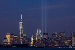 The Tribute in Light on September 11, 2014, on the thirteenth anniversary of the attacks, seen from Bayonne, New Jersey. The tallest building in the picture is the new One World Trade Center.