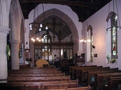 Inside the Anglican Parish Church of Saint Lawrence in Bourton-on-the-Water, England