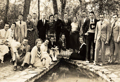 Campbell Junior College students gather at the Paul Green Outdoor Theater in the 1930s.