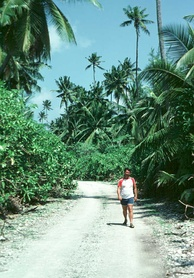An unpaved road in Diego Garcia in the eastern restricted zone, home to the former plantations