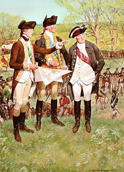 The American Soldier – 1775.An aide-de-camp, General George Washington, and General Artemus Ward at the Siege of Boston.