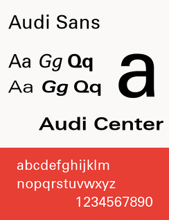 The typeface Audi Sans (used 1997–2009)