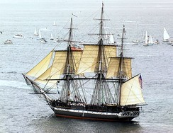 USS Constitution under sail in 1997