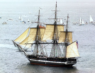 USS Constitution under sail for the first time in 116 years on 21 July 1997