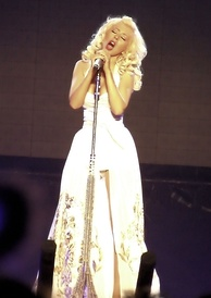 Aguilera performing during her Back to Basics Tour in 2006