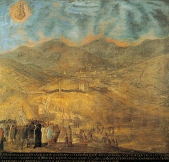 Artwork that shows a far view of the city. Mid-18th century.
