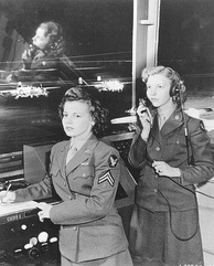 Female service dress in OD shade 33 at Randolph Field, 1944