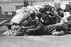 Iranian armed rebels during the revolution