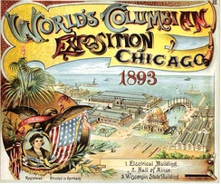 Advertisement for the Exposition, depicting a portrait of Christopher Columbus