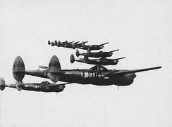 A formation of P-38 Lightnings from the 96th Fighter Squadron, 82nd Fighter Group over Italy, 1944