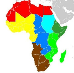 Geo-political map of Africa divided for ethnomusicological purposes, after Alan P. Merriam, 1959.