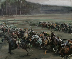 Members of the Canadian Cavalry Brigade perform a cavalry charge during the Battle of Moreuil Wood.