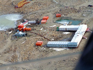 An aerial view of the Indian Station Maitri, Antarctica on 2 February 2005