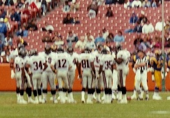 The Falcons playing against the Los Angeles Rams during a 1991 away game.