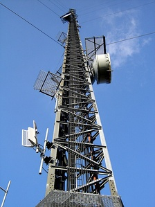 A transmission tower for radio and television.