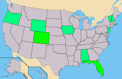 Green - States where Stevens had ballot access. (38 Electoral)Light Green - States where Stevens had Write-In access.Total - 38 Electoral