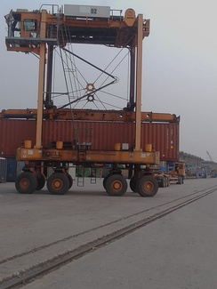 Straddle carrier at work in Mongla