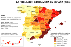 Percentage distribution of foreign population in Spain in 2005