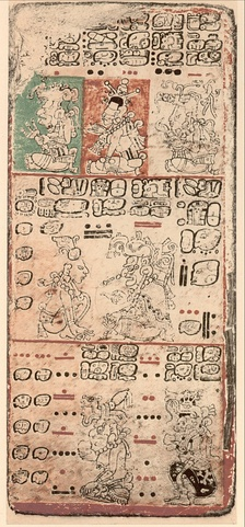 A page of the Precolumbian Mayan Dresden Codex
