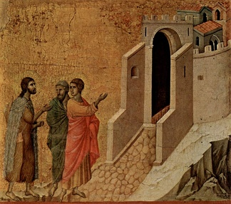 Jesus and the two disciples On the Road to Emmaus, by Duccio, 1308–1311,  Museo dell'Opera del Duomo, Siena