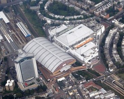 Aerial view of Earls Court, 2008 L-R Empress State Building, Earls Court Two and Earls Court