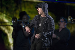 Eminem in 2014. Eminem is the best-selling artist of the 2000s in the United States.