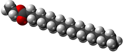 Space-filling model of ethyl stearate, or stearic acid ethyl ester, an ethyl ester produced from soybean or canola oil and ethanol