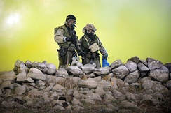 "Israel Defense Forces ""Yanshuf"" battalion soldiers at chemical warfare defense exercise"