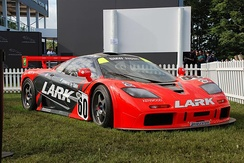 The 1996 F1 GTR of Team Lark on display.