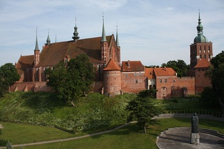 Brick Gothic fortified cathedral in Frombork, burial place of astronomer Nicolaus Copernicus