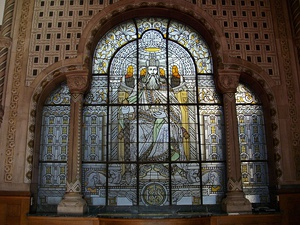 Stained-glass of Charlemagne sitting on his throne in the railway station of Metz, representing the imperial protection over Metz during the German annexation of the city