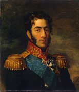 Painting shows a dark-haired man with long sideburns and a determined look. He wears a dark military uniform with epaulettes and a number of medals.