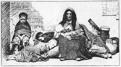 German illustration of a homeless mother and her children in the street, before 1883