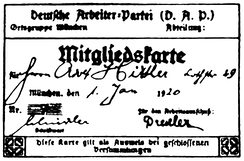 Hitler's membership card for the German Workers' Party (DAP)