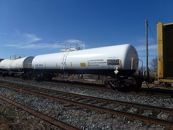 A tank car designed for transporting hydrogen peroxide by rail