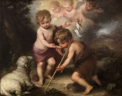 John the Baptist (right) with child Jesus, in the painting The Holy Children with a Shell by Bartolomé Esteban Perez Murillo