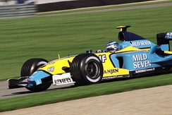 Jarno Trulli driving for Renault at the 2003 United States Grand Prix at Indianapolis.