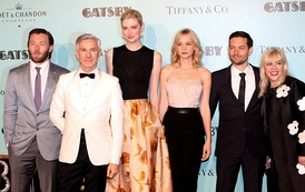 From left to right: Joel Edgerton, director Baz Luhrmann, Elizabeth Debicki, Carey Mulligan, Tobey Maguire, and producer and designer Catherine Martin at the premiere of The Great Gatsby in Sydney, May 22, 2013