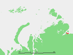 Map showing the location of Nordvik Bay. Nordvik penal colony was located in the small peninsula on the western side of the bay.