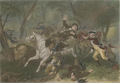 Depiction of the death of British Major Patrick Ferguson, during the American Revolutionary War. He was shot while commanding Loyalist regulars and militia at the Battle of Kings Mountain.