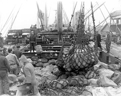 Merchant ship carrying mail from the United States to combat troops in war zone, ties up at a port in Korea. During Korean War.