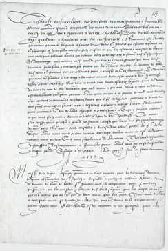 Letter from Henry II of France to Suleiman the Magnificent and ambassador Jean Cavenac de la Vigne, dated 22 February 1557.