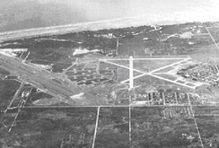 A southern-oriented image of MacDill Airfield taken during World War II (note the image is inverted)