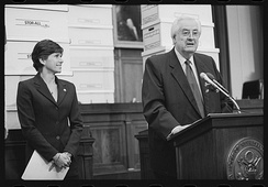 Mary Bono with Henry Hyde during a press conference related to the impeachment of Bill Clinton.