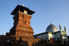 Minaret is not an original architecture of Indonesian mosque, instead the Menara Kudus Mosque employs a Hindu-Buddhist temple-like structure for a drum used to call prayer[94]