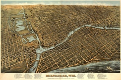 Illustrated map of Milwaukee in 1872