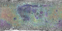 Lidar measurements of lunar topography made by Clementine mission.