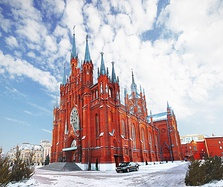 Cathedral of the Immaculate Conception in Moscow, Russia, an example of Brick Gothic revival
