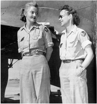 L–R, Nancy Love, pilot and Betty (Huyler) Gillies, co-pilot, the first women to fly the Boeing B-17 Flying Fortress heavy bomber for the WASP.[189]